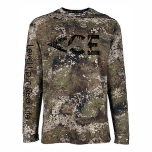 ACE Vintage Black Logo Long Sleeve  Camo T-shirts , Featuring Level Up In Real Life On The Sleeve