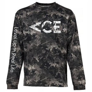 ACE Vintage White Logo Long Sleeve  Camo T-shirts , Featuring Level Up In Real Life On The Sleeve