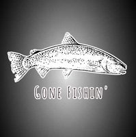 Gone Fishin' Trout Sticker. Car Bumper Sticker, Window Sticker