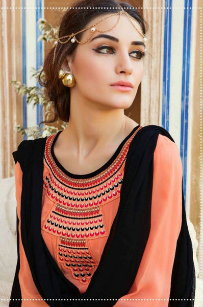 Pretty Peach and Black Georgette Salwar