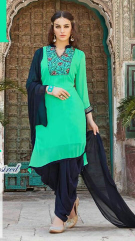 Pretty Light Green and Blue Georgette Salwar