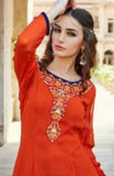 Orange and Blue Georgette Salwar