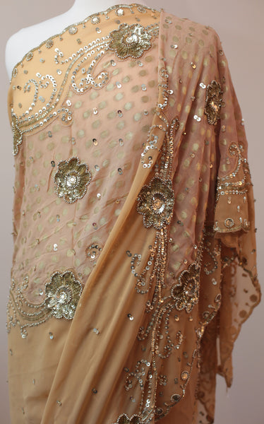 Beautiful Beige Georgette Saree