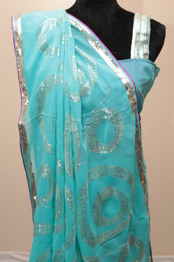 Beautiful Blue Georgette Saree
