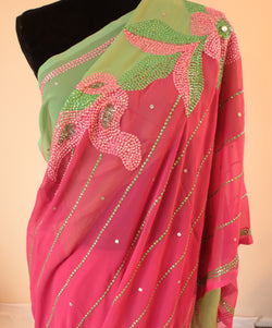 Beautiful Pink & Green Georgette Saree