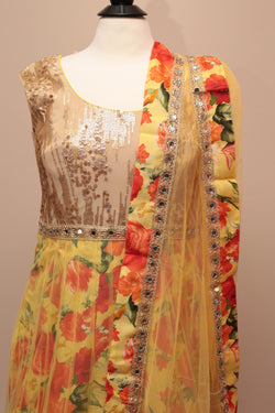 Elegant Beige/Gold and Yellow Floor Length Anarkali