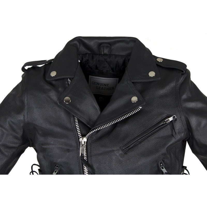 b8bea7f388a2 Kids Leather Motorcycle Jacket With Side Laces
