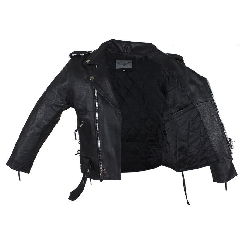 Kids Leather Motorcycle Jacket With Side Laces Rhino Gear