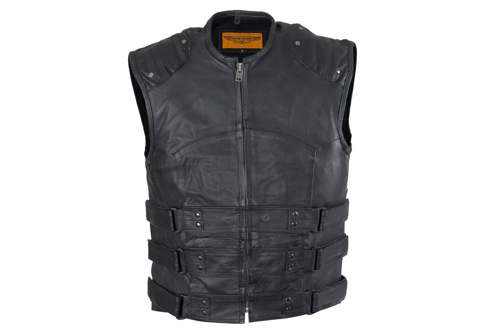 Men/'s SWAT Tactical Motorcycle Biker Leather vest with two concealed gun pockets