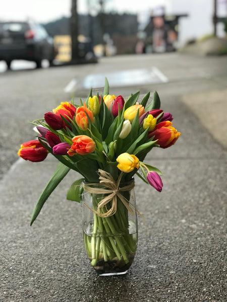 Mixed Tulips with Vase