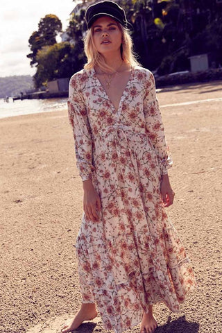 Caramel Daisy Maxi Dress