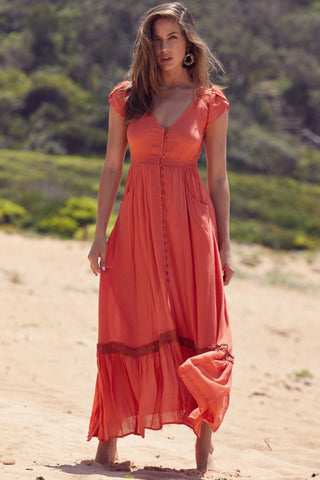 Carmen - Rust Maxi Dress