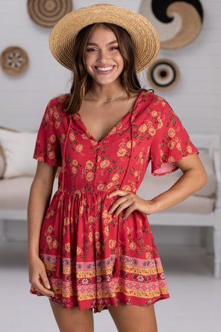 Ashley Playsuit - Red