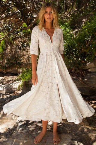 Flower White Embroidered Maxi Dress
