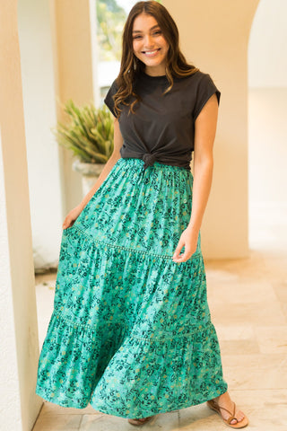 Sweet Garden Maxi Skirt - Green