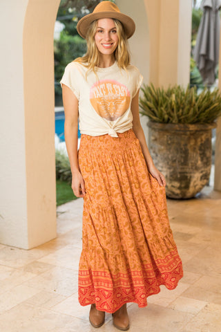 New Delhi Maxi Skirt/Midi Dress - Orange