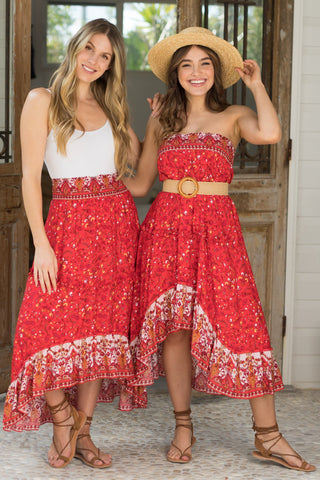 Spirit Maxi Skirt/Midi Dress - Red