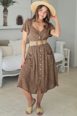 Delta Midi Dress - Brown