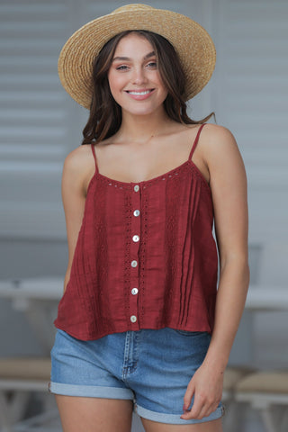 Hoian Crop Top - Burgundy Red