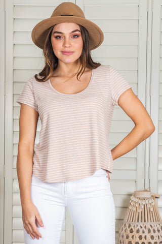 Oolong Tee - Blush/White Stripe