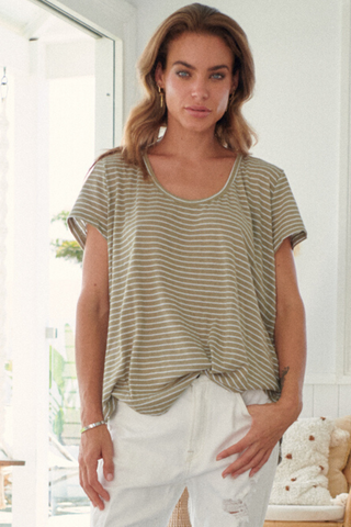 Oolong Tee - Khaki/White Stripe