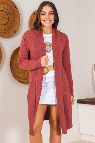 Eris Cardigan - Brick Red