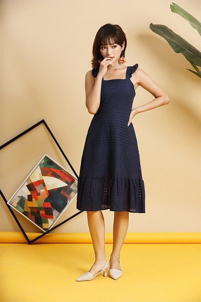 c2ecade0de95f Dela Flutter Eyelet Dress (Navy)