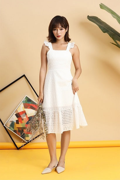4f1b9f136c65f Dela Flutter Eyelet Dress (White)