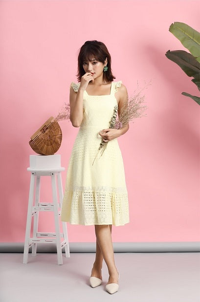 ccd71932c2bbd Dela Flutter Eyelet Dress (Cream)