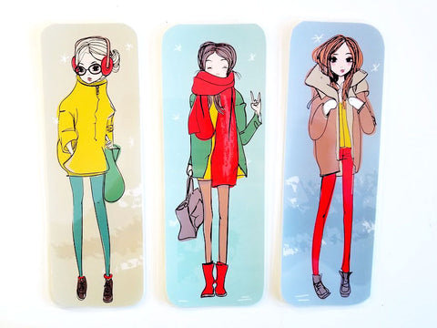 winter fashion girls Page markers
