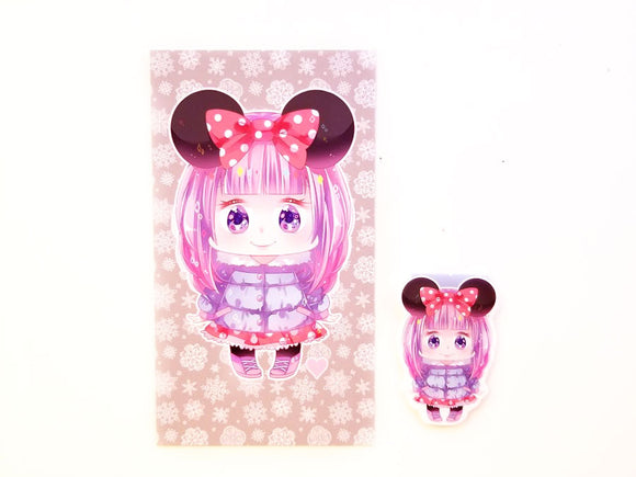 Winter Mouse girl planner dashboard or magnetic bookmark