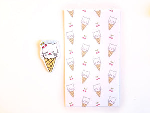 Cat Ice cream planner dashboard or magnetic bookmark