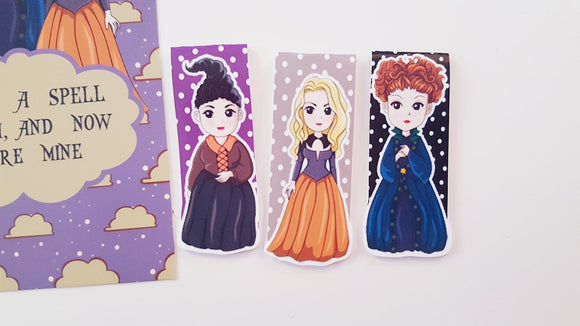 sanderson sisters inspired magnetic bookmarks