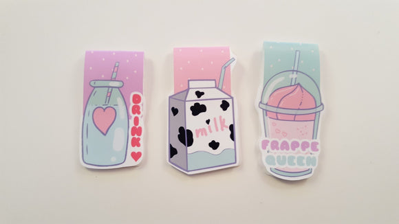 Kawaii Drinks magnetic bookmarks