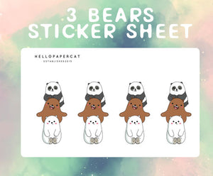 3 Bears inspired sticker sheet