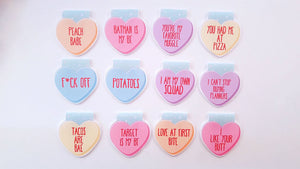 Conversation hearts magnetic bookmarks