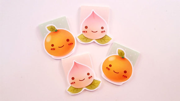 Peach and Orange magnetic bookmarks