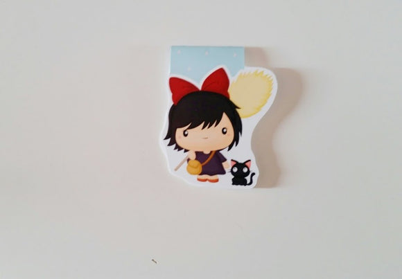 little witch girl inspired magnetic bookmark
