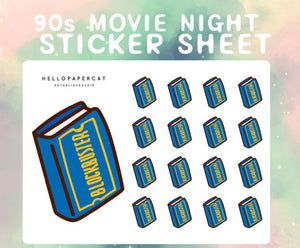 90s movie night sticker sheet