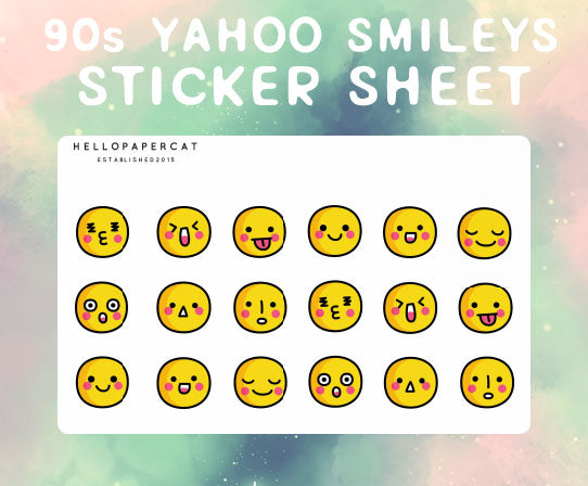 90s Yahoo smilies sticker sheet