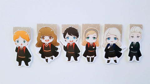 Wizard boy and friends magnetic bookmarks