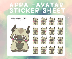 Appa Inspired sticker sheet