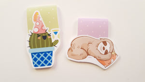 Party Cactus or Sleepy Sloth magnetic bookmark