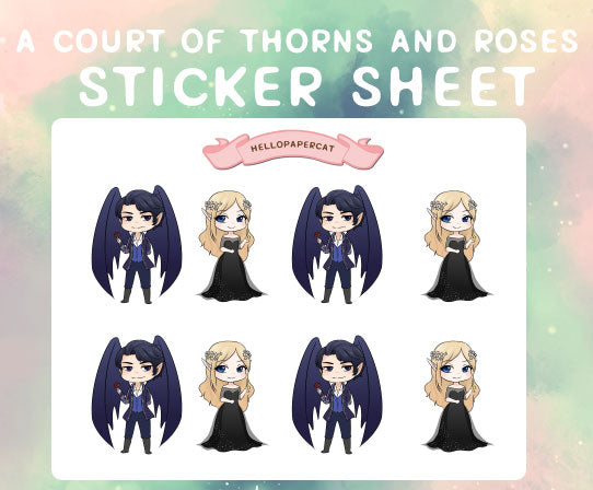 A Court of Thorns and Roses sticker sheet