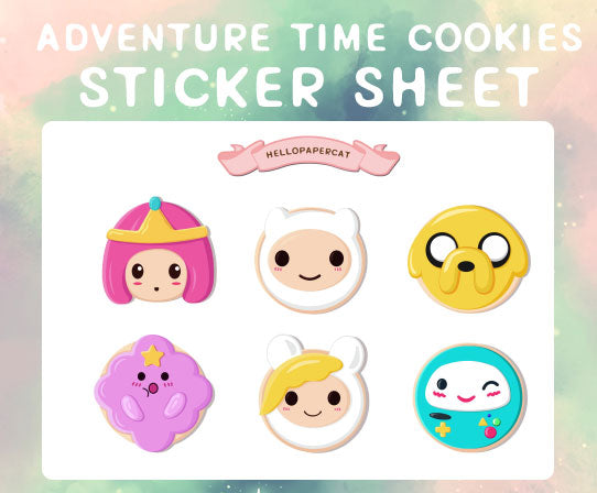 adventure time cookies sticker sheet