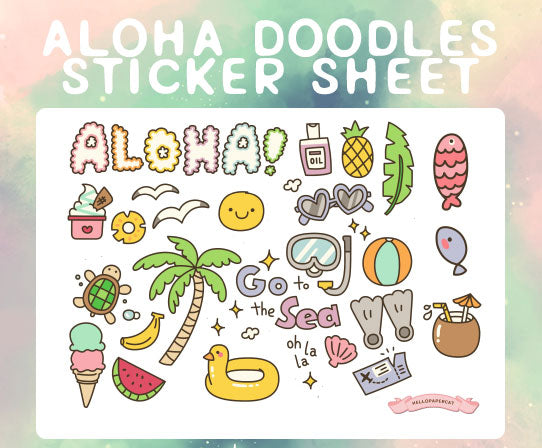 Aloha Doodles sticker sheet