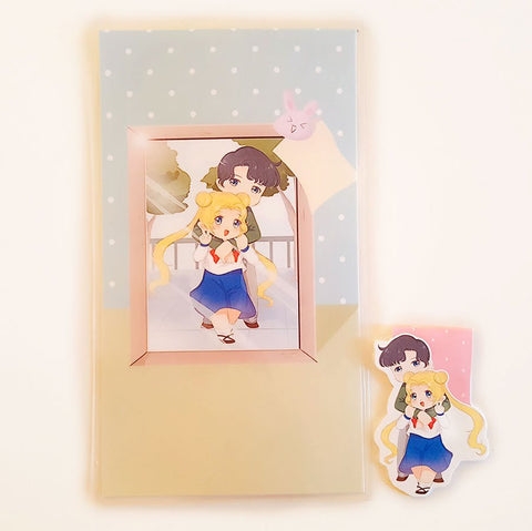 Usagi and Mamoru dashboard or magnetic bookmark