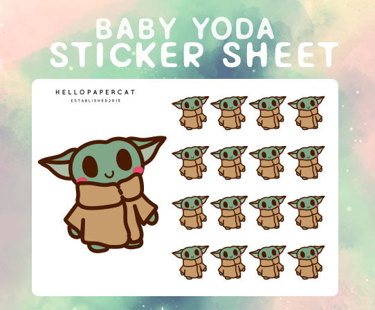baby yoda sticker sheet
