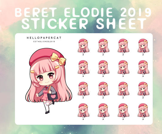 Beret Elodie 2019 sticker sheet