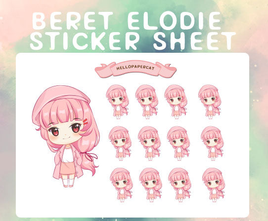 Beret Elodie sticker sheet